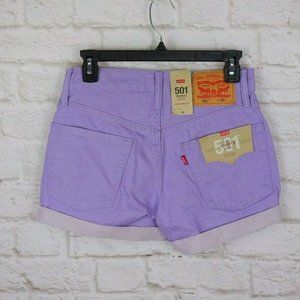 New Levi's 501 Shorts Purple Cuffed Button-Fly 26